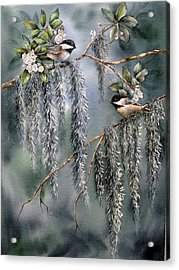 Laurel Meets Moss Acrylic Print by Mary McCullah