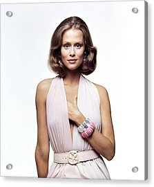 Lauren Hutton Wearing A Galanos Dress Acrylic Print by Bert Stern