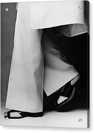 Lauren Hutton's Legs Wearing Calvin Klein Pants Acrylic Print by Francesco Scavullo