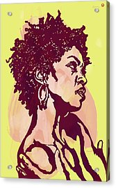 Lauryn Hill B W -  Modern Colour Etching Art  Poster Acrylic Print by Kim Wang