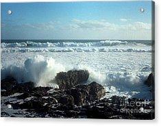 Acrylic Print featuring the photograph Lava Beach Rocks On 90 Mile Beach by Mark Dodd