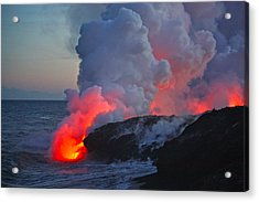 Lava Flow At Sunset In Kalapana Acrylic Print