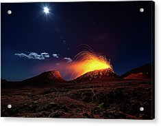 Lava Flow With The Moon Acrylic Print