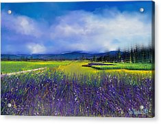 Acrylic Print featuring the digital art Lavender Blues by Kari Nanstad