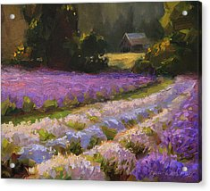 Lavender Farm Landscape Painting - Barn And Field At Sunset Impressionism  Acrylic Print
