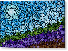 Lavender Fields - France French Landscape Art Acrylic Print by Sharon Cummings