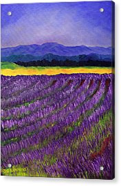 Acrylic Print featuring the painting Lavender Fields by Janet Greer Sammons
