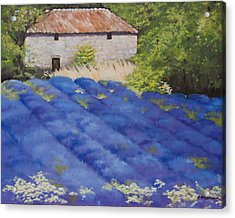 Acrylic Print featuring the painting Lavender Fields by Rebecca Matthews