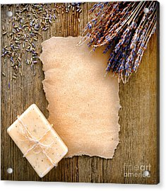Lavender Flowers And Soap Acrylic Print by Olivier Le Queinec