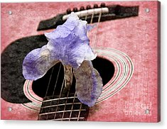 Lavender Iris And Acoustic Guitar - Texture - Music - Musical Instrument - Painterly - Pink  Acrylic Print by Andee Design
