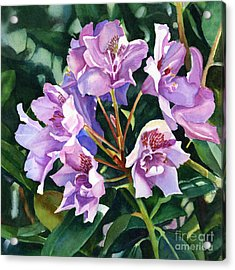 Lavender Rhododendron Square Design Acrylic Print by Sharon Freeman