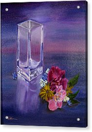 Acrylic Print featuring the painting Lavender Vase by LaVonne Hand