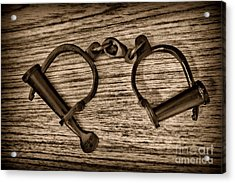 Law Enforcement - Antique Handcuffs - Black And White Acrylic Print by Paul Ward