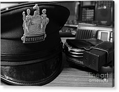 Law Enforcement - The Detective In Black And White Acrylic Print