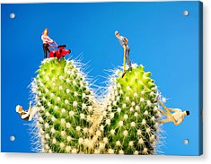 Lawn Mowing On Cactus II Acrylic Print by Paul Ge