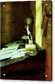 Acrylic Print featuring the photograph Lawyer - Desk With Quills And Papers by Susan Savad