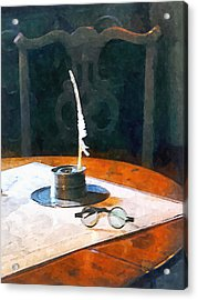 Lawyer - Quill And Spectacles Acrylic Print by Susan Savad