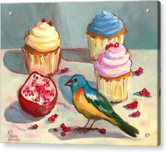 Lazuli Bunting And Pomegranate Cupcakes Acrylic Print by Susan Thomas