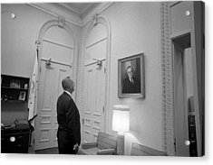 Lbj Looking At Fdr Acrylic Print by War Is Hell Store
