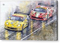 Le Mans 2011 Gte Pro Chevrolette Corvette C6r Vs Ferrari 458 Italia Acrylic Print by Yuriy  Shevchuk