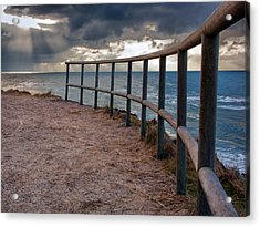 Rail By The Seaside Acrylic Print by Mike Santis