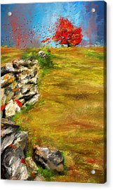 Leading Red - Autumn Impressionist Acrylic Print by Lourry Legarde
