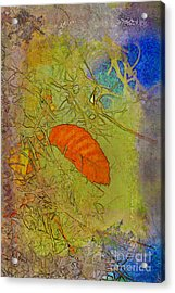 Leaf In The Moss Acrylic Print by Deborah Benoit