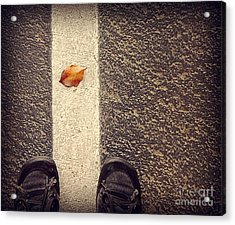 Acrylic Print featuring the photograph Leaf On The Line by Meghan at FireBonnet Art