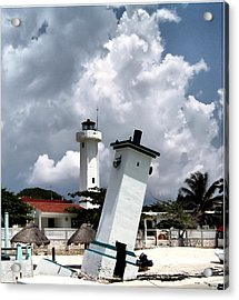 Leaning Lighthouse Of Mexico Acrylic Print by Farol Tomson