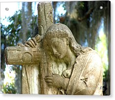 Leaning On The Cross Acrylic Print