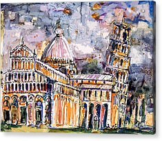 Leaning Tower Of Pisa Italy  Acrylic Print by Ginette Callaway
