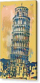 Leaning Tower Of Pisa  - Pop Stylised Art Poster   Acrylic Print by Kim Wang