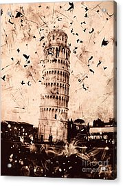 Leaning Tower Of Pisa Sepia Acrylic Print