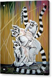 Acrylic Print featuring the painting Leapin Lemurs by Phyllis Kaltenbach