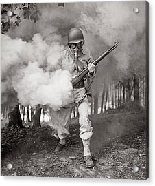 Learning How To Use A Gas Mask Circa 1942 Acrylic Print by Aged Pixel