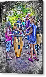 Learning The Drums Young Acrylic Print by John Haldane