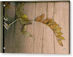 Leaves On A Wooden Step Acrylic Print