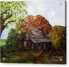 Acrylic Print featuring the painting Leaves On The Cabin Roof by Eloise Schneider