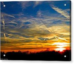 Leavin On A Jetplane Sunset Acrylic Print