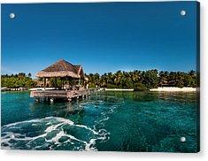 Leaving Kuramathi Resort. Maldives Acrylic Print by Jenny Rainbow