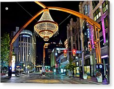 Leaving Playhouse Square Acrylic Print by Frozen in Time Fine Art Photography