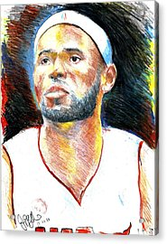 Lebron James  Acrylic Print by Jon Baldwin  Art