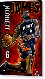 Lebron James Oil Painting-original Acrylic Print by Dan Troyer