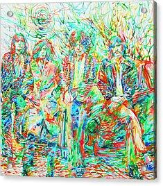 Led Zeppelin - Watercolor Portrait.1 Acrylic Print by Fabrizio Cassetta