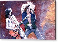 Led Zeppelin Jimmi Page And Robert Plant  Acrylic Print by Yuriy  Shevchuk