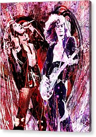Led Zeppelin - Jimmy Page And Robert Plant Acrylic Print by Ryan Rock Artist