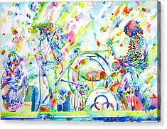 Led Zeppelin Live Concert - Watercolor Painting Acrylic Print by Fabrizio Cassetta
