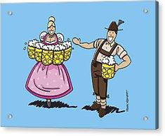 Lederhosen Man Welcomes Oktoberfest Beer Waitress Acrylic Print