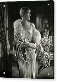 Lee Miller Wearing An Evening Gown Acrylic Print by Edward Steichen