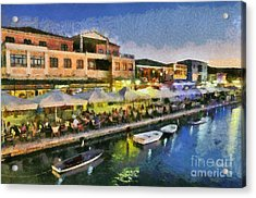 Lefkada Town During Dusk Time Acrylic Print by George Atsametakis